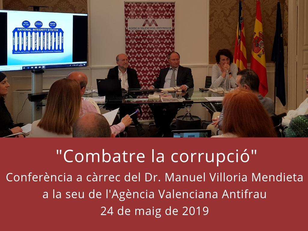 Conferencia Dr. Manuel Villoria Mendieta sede Agencia Valenciana Antifraude 24 de mayo de 2019