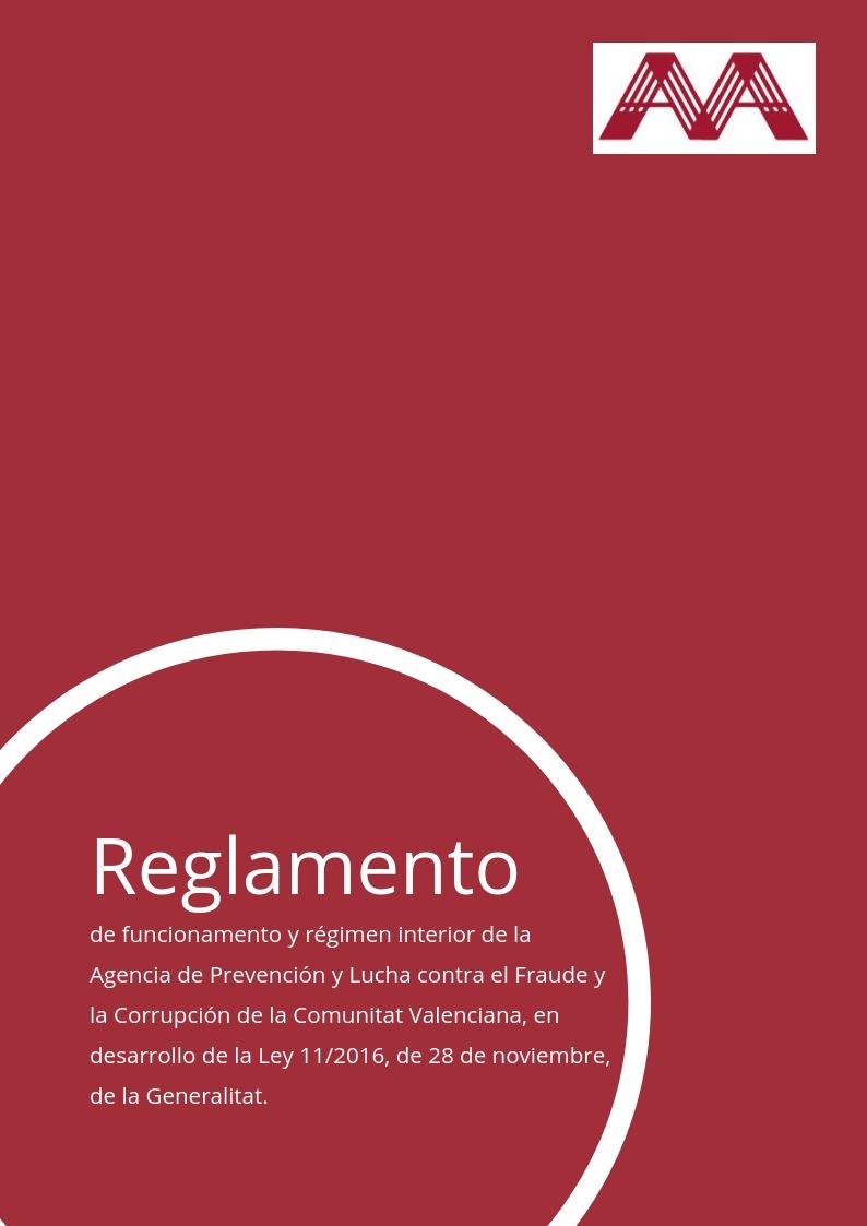 Reglamento de funcionamiento y régimen interior de la Agencia Valenciana Antifraude